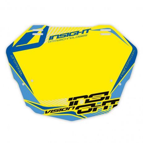 PLAQUE BMX RACE INSIGHT PRO BLEU / JAUNE