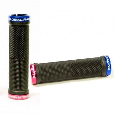POIGNEES BMX GLOBAL RACING LOCK-ON 130MM BLACK/ BLUE/ RED