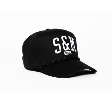 CASQUETTE S&M SMU 5 PANEL SNAPBACK BLACK