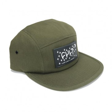 CASQUETTE CULT 5 PANELS DREAM LEATHER PATCH OLIVE GREEN
