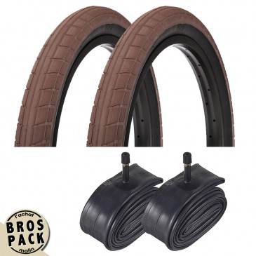 BROS PACK / 2 PNEUS DONNASQUEAK CHOCOLAT X 2 CHAMBRES A AIR